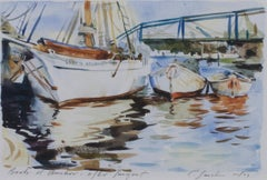 """Boats at Anchor After Sargent,"" Harbor Watercolor Scene signed by Craig Lueck"