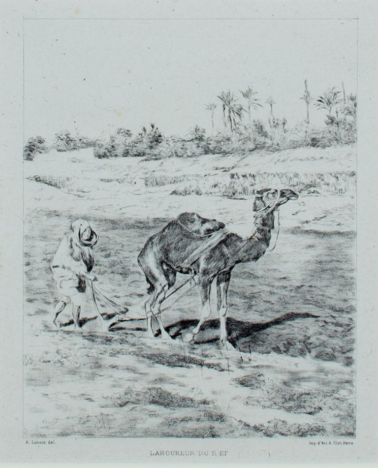 """""""Laboureur du Kef (Plowman of Kef)"""" is an original lithograph by Alexandre Lunois. It features a figure plowing the field with a camel. The artist's name is lower left and the printer's name d'Art A. Clot, Paris is lower right.   7"""" x 5 1/2"""" art 14"""
