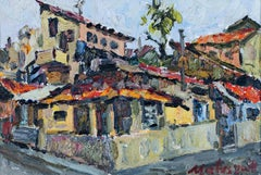 """Old Tel Aviv,"" architectural oil on canvas board by Michael Matusevitsch"