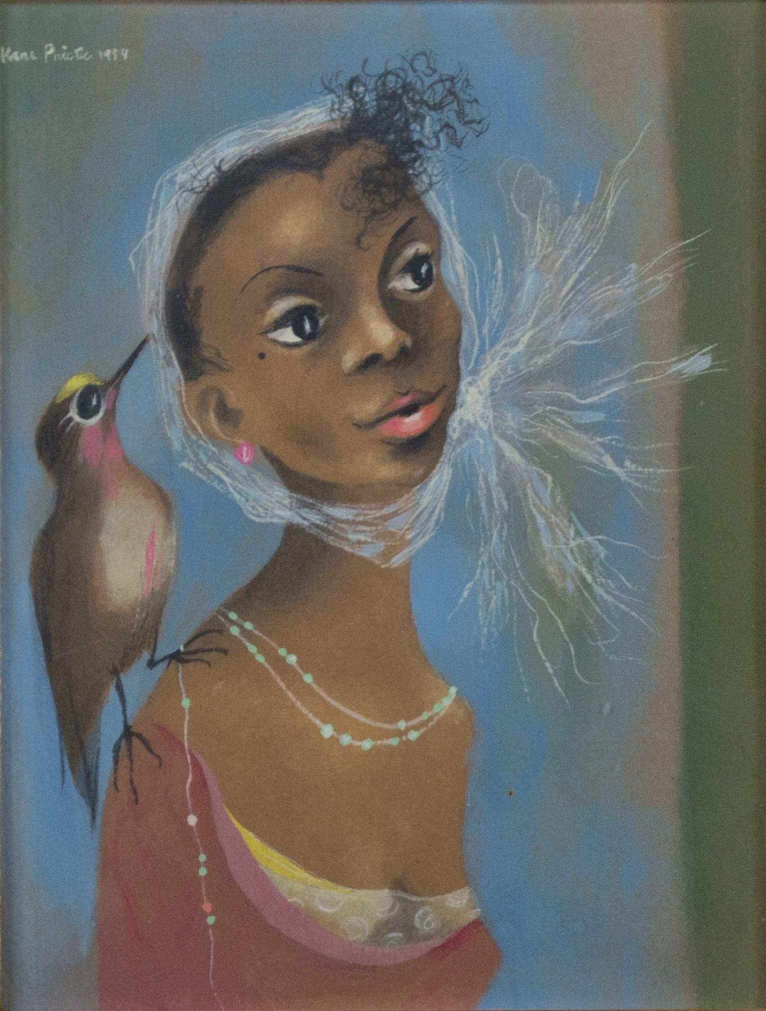 """Young Girl (Girl with Bird),"" Original Gouache on Paper signed by Karl Priebe"