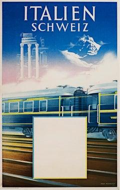 """Italien Schweiz (Train),"" Original Color Litho Poster signed by Aage Rasmussen"