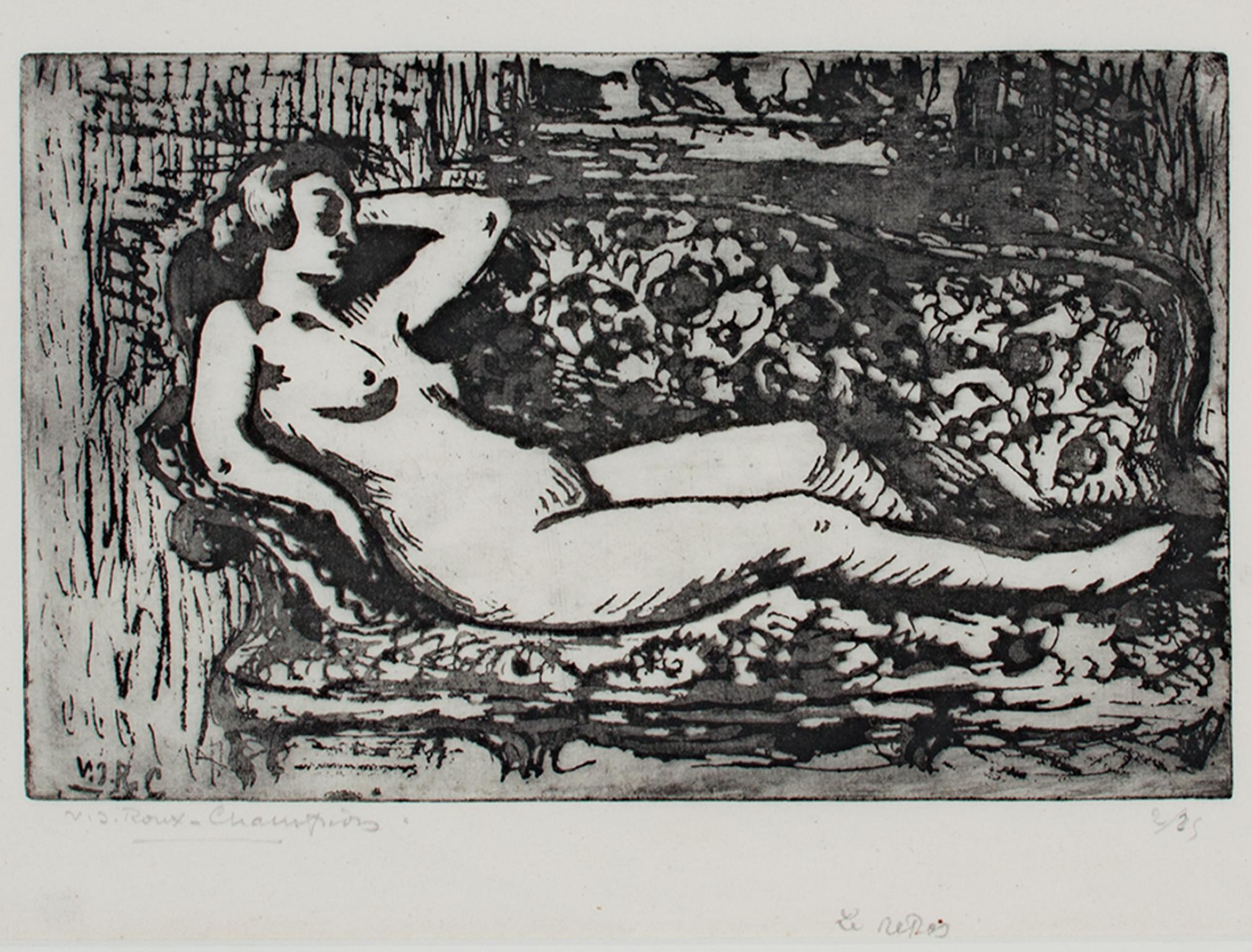"""""""Le Repos (Rest),"""" Original Etching Nude signed by Victor Roux-Champion"""