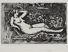"""Le Repos (Rest),"" original etching by Victor Roux-Champion"