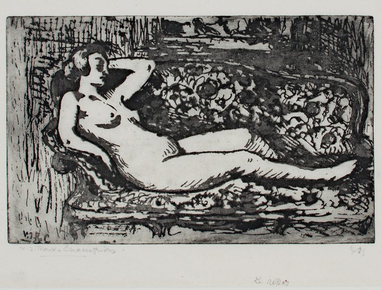 """""""Le Repos (Rest)"""" is an original etching by Victor Roux-Champion. It features a nude woman lounging on a couch. The artist signed the piece lower left and wrote the edition number, 2/25, in the lower right.   6 3/8"""" x 9 13/16"""" art 16 5/8"""" x 19 7/8"""""""