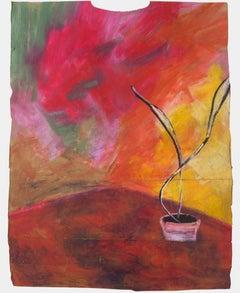 """The Ruby Corner,"" oil pastel on grocery bag by Reginald K. Gee"