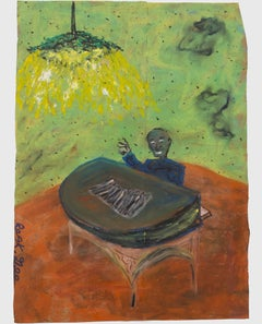 """""""Midnight Writer Attempting Music,"""" oil pastel on grocery bag by Reginald K. Gee"""