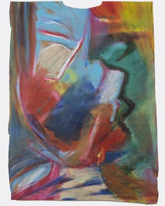 """""""Jittip,"""" Abstract Oil Pastel on a Grocery Bag signed by Reginald K. Gee"""