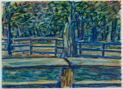 """Trees & Fences,"" Vivid Landscape Drawing in Craypas by Robert McLaughlan"
