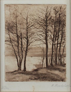 """""""Ufer (Shoreline),"""" Sepia Landscape Etching signed by Maria Mendelssohn"""