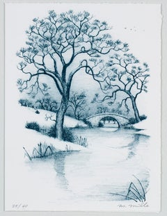 """Season's Greetings,"" Winter Landscape Lithograph in Blue signed by Mark Mille"