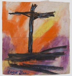 """""""One Way to Freedom,"""" Religious Oil Pastel on Grocery Bag by Reginald K. Gee"""