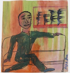 """""""Man on Express,"""" Oil Pastel Drawing on Grocery Bag signed by Reginald K. Gee"""