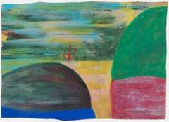 """""""Red Cactus,"""" Oil Pastel Landscape on Grocery Bag signed by Reginald K. Gee"""