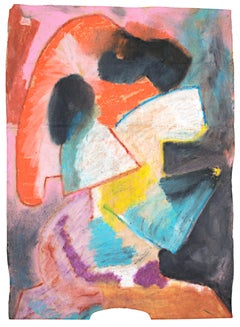 """""""Purpose,"""" Abstract Oil Pastel Drawing on Grocery Bag signed by Reginald K. Gee"""