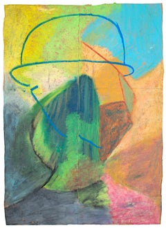 """""""Ulsto,"""" Abstract Figurative Oil Pastel on Grocery Bag signed by Reginald K. Gee"""