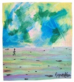 """Twelve Miles to Go,"" Oil Pastel on Grocery Bag signed by Reginald K. Gee"