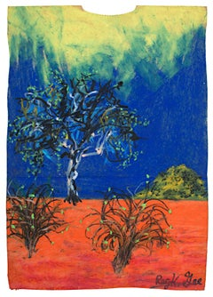 """Oncoming Dawn,"" Oil Pastel Landscape on Grocery Bag signed by Reginald K. Gee"