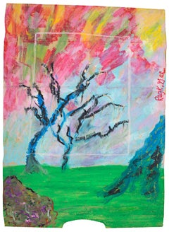 """Photo of Trees,"" Oil Pastel Landscape on Grocery Bag signed by Reginald K. Gee"
