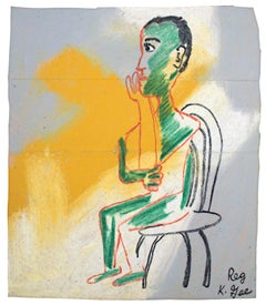 """""""The Average Guy"""" Figurative Oil Pastel on Grocery Bag signed by Reginald K. Gee"""