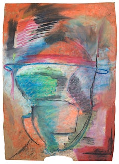 """Liek,"" abstract portrait oil pastel on paper bag by Reginald K. Gee"