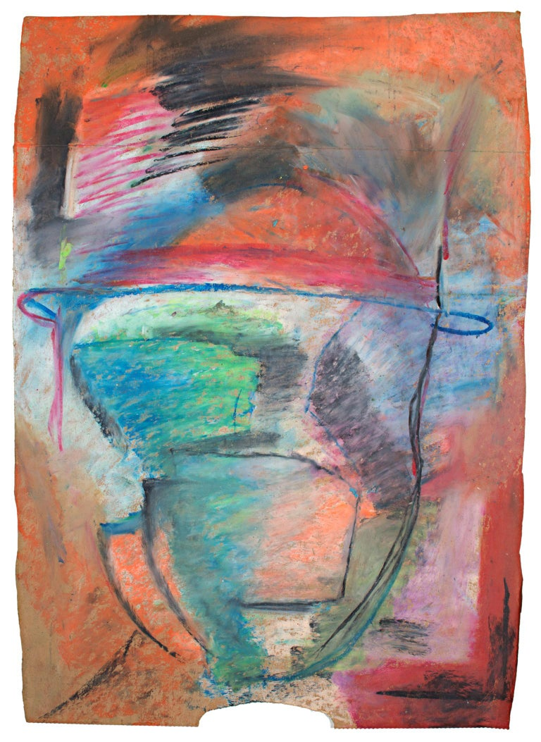Signed and Dated 1999 Abstract Vintage Art Colorful Blue Pastel Drawing on Paper