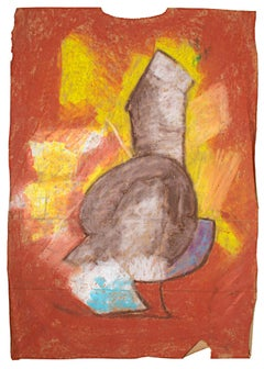 """""""Heavy Times,"""" Oil Pastel on Paper Bag signed by Reginald K. Gee"""