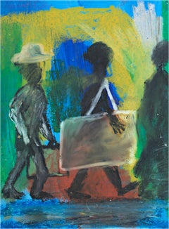 """Walk,"" oil pastel and acrylic on paper by Reginald K. Gee"