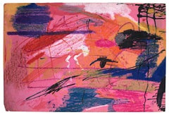 """""""Rainy Day,"""" Abstract Oil Pastel Drawing on Pink Paper by Reginald K. Gee"""