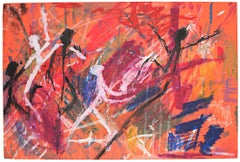 """""""Untitled,"""" Oil Pastel Drawing on Pink Paper by Reginald K. Gee"""
