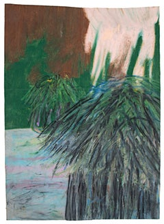 """""""Huts,"""" Village Scene Oil Pastel on Paper Bag signed by Reginald K. Gee"""