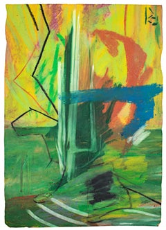 """""""Untitled,"""" Abstract Oil Pastel on a Grocery Bag signed by Reginald K. Gee"""