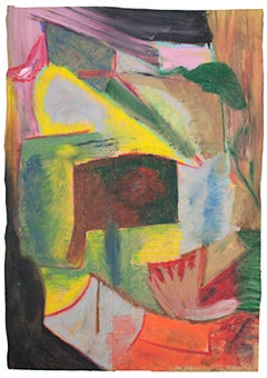"""""""Prince Dunhart,"""" Abstract Oil Pastel Drawing on Paper Bag by Reginald K. Gee"""