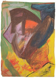"""J.D. Wovel Wearing Helmet,"" oil pastel on paper bag by Reginald K. Gee"