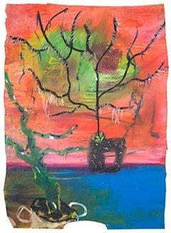 """Plush Orange Scene,"" Interior Oil Pastel on a Paper Bag by Reginald K. Gee"