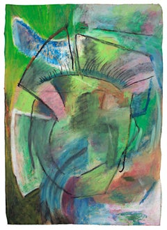 """""""Scif,"""" Abstract Oil Pastel Drawing on a Paper Bag signed by Reginald K. Gee"""