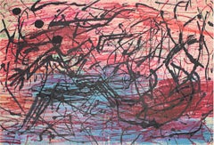 """""""The Murder,"""" Abstract Oil Pastel on Paper signed by Reginald K. Gee"""