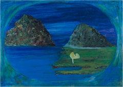 """""""Looks Like a Nice Getaway Spot,"""" Blue Landscape Oil Pastel by Reginald K. Gee"""