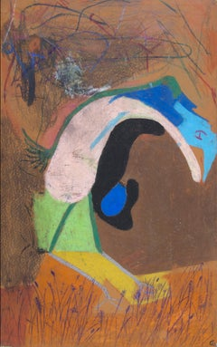 """The First Bird with Egg, Duckling Abstraction,"" oil pastel by Reginald K. Gee"