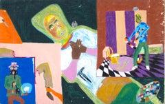"""""""People in Trouble"""" Multi-scene Oil Pastel on Board initialed by Reginald K. Gee"""