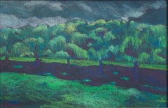"""Willow Shadows at Chenequa,"" landscape pastel drawing by Peggy Leonard"