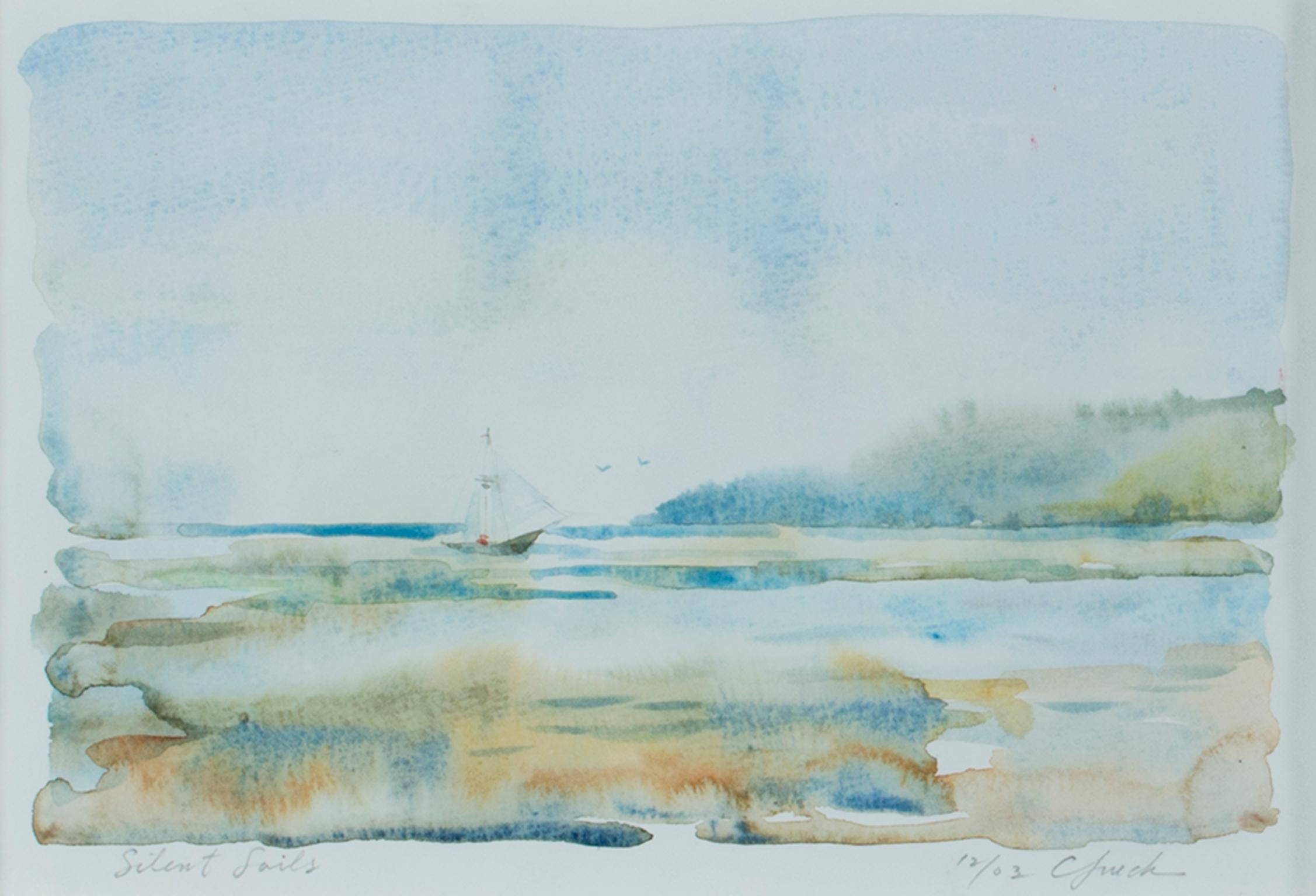 """""""Silent Sails,"""" Serene Seaside Watercolor Painting signed by Craig Lueck"""
