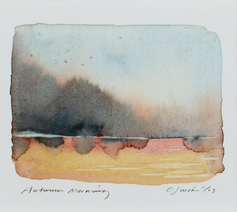 """""""Autumn Morning"""" is an original watercolor painting on Holbein watercolor paper by Craig Lueck. The artist signed and dated the piece lower right and wrote the title lower left. This artwork features the artist's wet-in-wet technique to create an"""