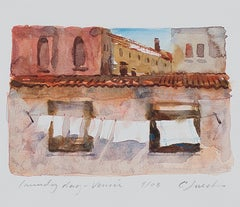 """Laundry Day - Venice,"" Italian Scene Watercolor Painting signed by Craig Lueck"