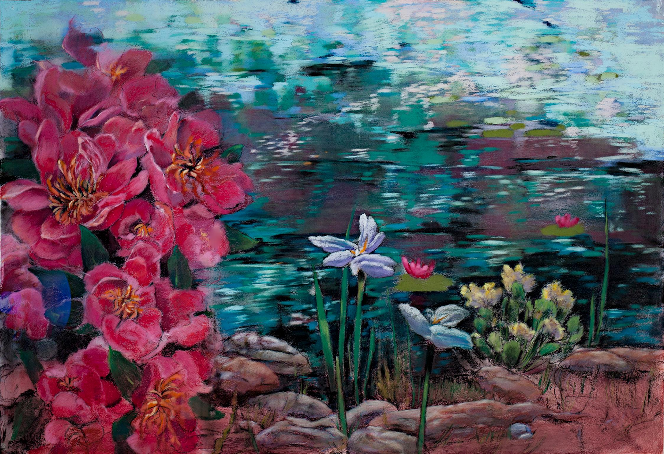 """Pond Dream #2,"" Water Flora Pastel & Gouache on Paper by Victoria Ryan"