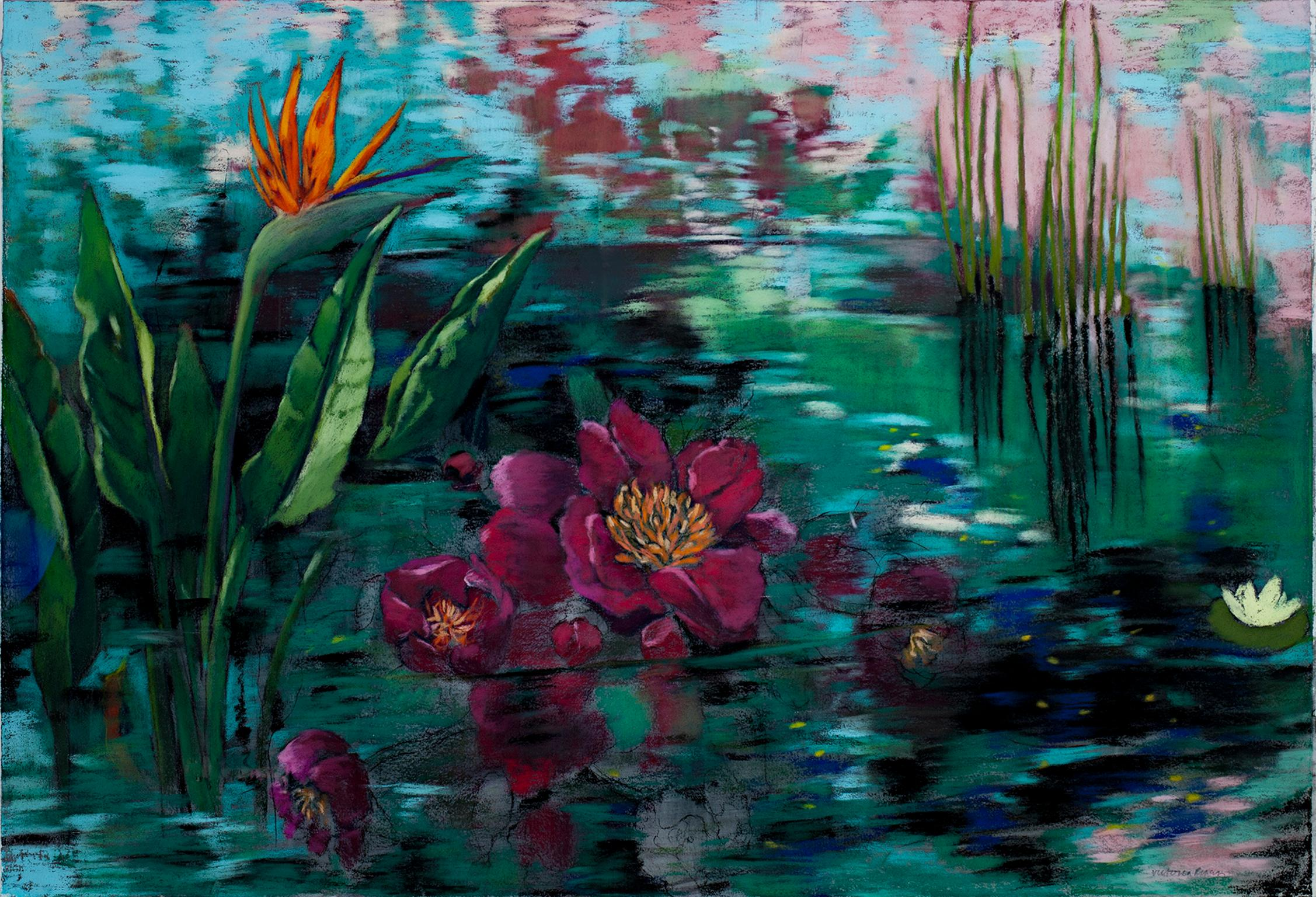 """""""Pond Dream #3,"""" Water Flora Pastel and Gouache on Paper by Victoria Ryan"""