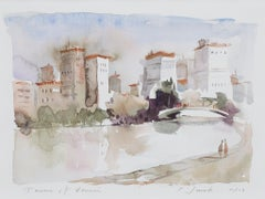 """Towers of Venice,"" Italian Cityscape Watercolor signed by Craig Lueck"
