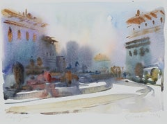 """""""City Glow,"""" Abstracted Cityscape Watercolor signed by Craig Lueck"""