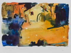"""""""Backyard Abstractions,"""" Landscape Watercolor on paper signed by Craig Lueck"""
