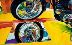 """Harley,"" Photorealist Watercolor of a Motorcycle signed by Bruce McCombs"