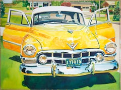 """Yellow Cadillac,"" hyperrealistic watercolor painting by Bruce McCombs"